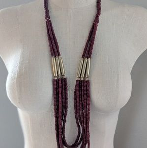 Chico's Red and Gold Long Layered Beaded Necklace